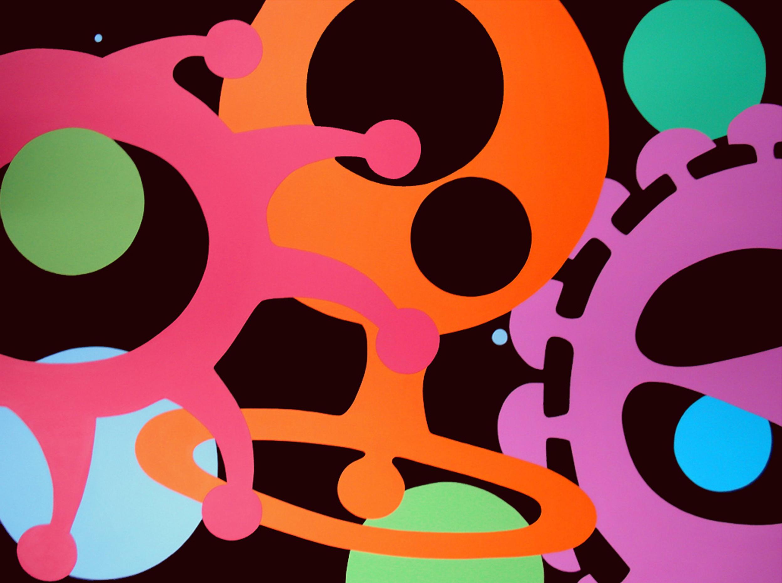 Beyond the Visible (abstract pop painting) Philippe Sokazo & Lines at Play (abstract painting) Ellen Bang
